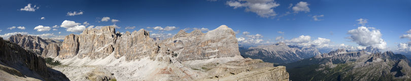 Panoramic view of dolomites mountain Royalty Free Stock Photos