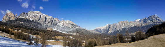 Panoramic view of Dolomites mountains Stock Photography