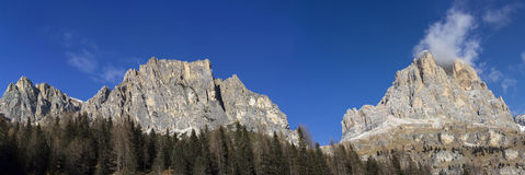 Panoramic view of Dolomites mountains around stock photos