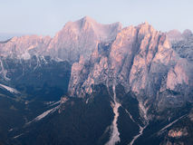 Panoramic view of Dolomites mountains ridge Stock Photos