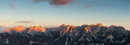 Panoramic view of Dolomites mountains ridge Royalty Free Stock Photography