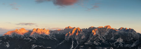 Panoramic view of Dolomites mountains ridge Stock Photography