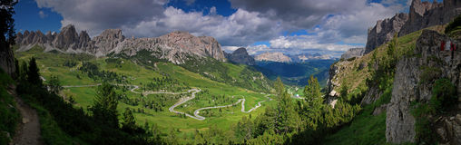 Panoramic view of the Dolomites peaks Stock Photography