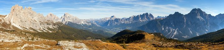 Panoramic view of dolomiti around Cortina d Ampezzo Royalty Free Stock Photos