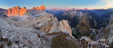 Panoramic view of Dolomiti Mountains - Group Tofana - Italy Royalty Free Stock Images