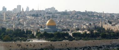 A panoramic view of the Dome of the Rock. Jerusalem, Israel stock photos