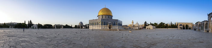 Panoramic view Dome of the Rock Mosque of Jerusalem Stock Photography
