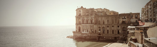 Panoramic view Donn`Anna Palace in Naples - It Stock Photo
