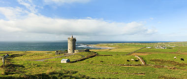 Panoramic view of Doonagore castle in Ireland. Panoramic view of Doonagore castle and lanscape in Ireland Royalty Free Stock Photography