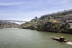 Panoramic view of Douro River, Porto landscape. Royalty Free Stock Image