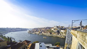 Panoramic view of Douro river and Porto old town, Portugal stock video footage