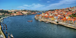 Panoramic view of Douro river at Porto Royalty Free Stock Photos