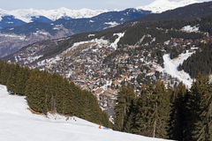 Panoramic view down an alpine mountain valley Stock Image