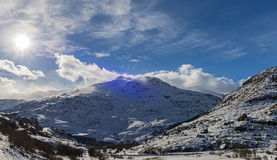 Panoramic view down an alpine mountain valley Stock Photography