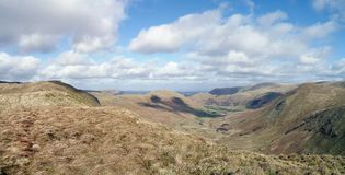 Panoramic view down Bannerdale, Lake District Royalty Free Stock Image