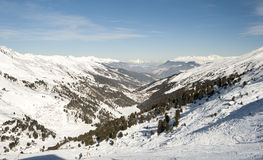 Panoramic view down a mountain valley Royalty Free Stock Photography