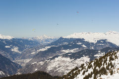 Panoramic view down a mountain valley Royalty Free Stock Images