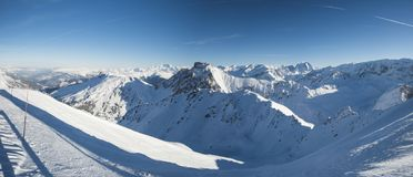 Panoramic View Down Snow Covered Valley In Alpine Mountain Range Stock Image