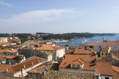 Panoramic view of down town Porec from the basilica tower, Istra. Croatia Royalty Free Stock Photo