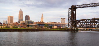 Panoramic view of downtown Cleveland. Ohio, USA stock photos