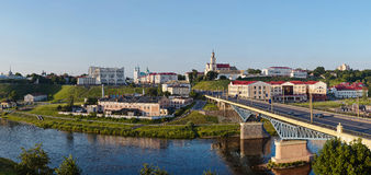 Panoramic view of downtown Grodno Belarus. Panoramic multi-row view of downtown Grodno Belarus Royalty Free Stock Images