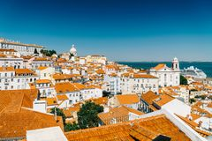 Panoramic View Of Downtown Lisbon Skyline In Portugal. Panoramic View Of Downtown Lisbon Skyline Of The Old Historical City In Portugal Royalty Free Stock Image