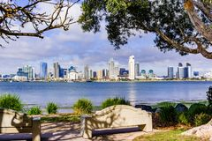 Panoramic view of the downtown San Diego skyline taken from Coronado Island, California royalty free stock photography
