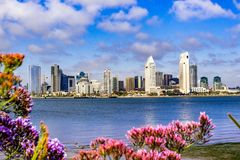 Panoramic view of the downtown San Diego skyline taken from Coronado Island, California royalty free stock image