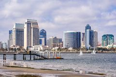 Panoramic view of the downtown San Diego skyline taken from Coronado Island, California stock photo