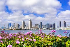 Panoramic view of the downtown San Diego skyline taken from Coronado Island, California stock images