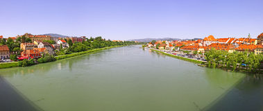 Panoramic view of Drava river in Maribor city Royalty Free Stock Photos