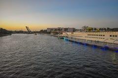 Panoramic view of  Drawbridge , Tampa Museum of Art , Riverwalk and Hillsborough river in downtown area . stock photos