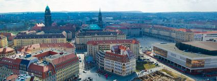 Panoramic view of Dresden city from lutheran church, Germany royalty free stock photography