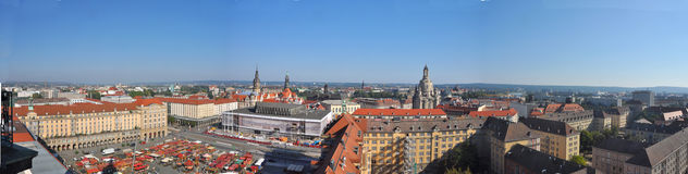 Panoramic view of Dresden city with Frauenkirche Royalty Free Stock Photography