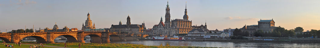 Panoramic view of Dresden, Germany - with river Elbe Stock Photography