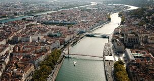 Panoramic view from drone of cityscape of Lyon in autumn day, France