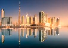 Panoramic view of Dubai Business bay, UAE Royalty Free Stock Photos