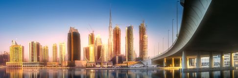 Panoramic view of Dubai Business bay, UAE. Panoramic view of Dubai Business bay and bridge with reflection of skyscrapers on water, UAE Royalty Free Stock Photos