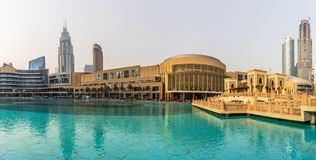 Panoramic View of Dubai Mall and Downtown Dubai. Dubai - UAE. 22. Panoramic view of Dubai Mall and new Fashion Avenue Royalty Free Stock Photos