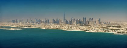 Panoramic view of Dubai. From Palm Island, UAE Stock Photography