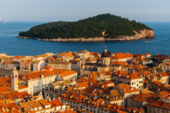 Panoramic view of Dubrovnik, Croatia. The old part of town and the Lokrum island in the sea royalty free stock images