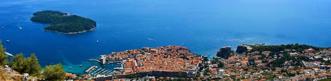 Panoramic view Dubrovnik and Lokrum stock photography