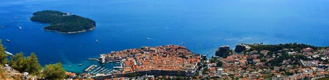 Panoramic view Dubrovnik and Lokrum Stock Photography