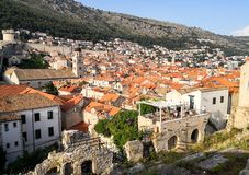 Panoramic view of Dubrovnik old town from the walls royalty free stock image
