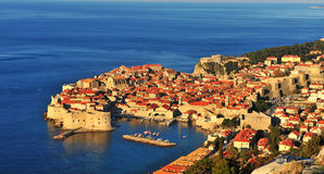 Panoramic view of Dubrovnik at sunrise Stock Images