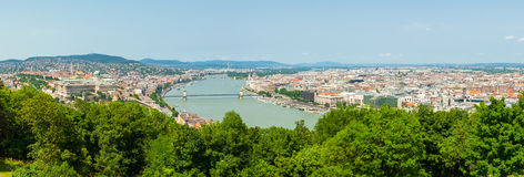 Panoramic view of Dunabe river with bridge connecting Buda and Pest in Budapest, Hungary Stock Photo