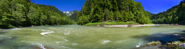 Panoramic view of the Dunajec river in the mountain Stock Photography