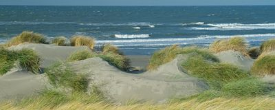 Panoramic view with dunes, beach and North Sea waves. In Westland, The Netherlands royalty free stock photos