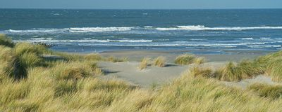 Panoramic view with dunes, beach and North Sea waves. In Westland, The Netherlands stock photo
