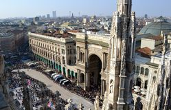 Panoramic view from Duomo to Carnival celebration at Duomo square. Royalty Free Stock Images